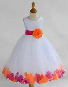 White Floral Rose Petal Flower girl dress Multi-colors Sizes 6-9 months-16 years