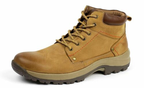 New Mens Lace Up Leather Hiking Biker Walking Combat Work Ankle Boots Shoe Size