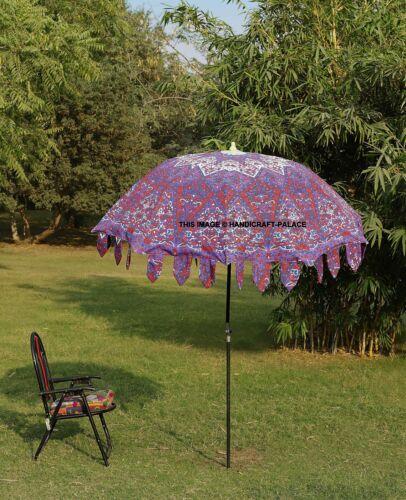 Indian Large Patio Umbrella Psychedelic Mandala Garden Umbrellas Cotton Parasol