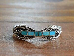 2653f48aa77 Image is loading Vintage-Navajo-Turquoise-Inlay-Kachina-Sterling-Silver-Cuff -