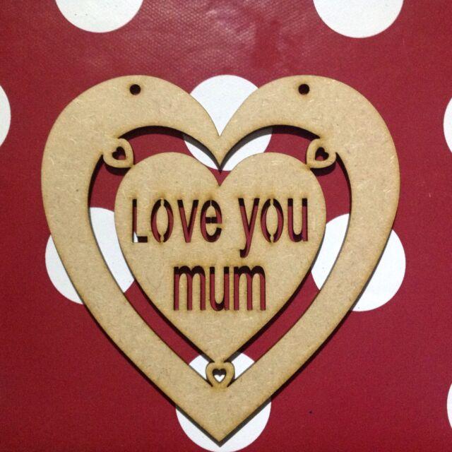 Large Wooden Heart Craft Shape Mum,Dad,Grandma,Grandad.