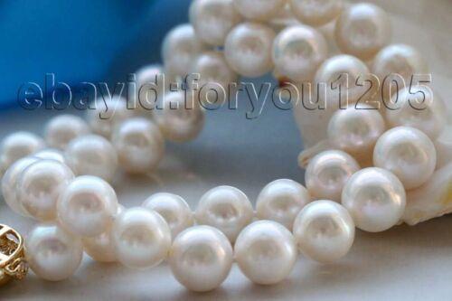 "17.5/"" Genuine Natural 12mm White Round Pearl Necklace 9k zircon #f1945!"