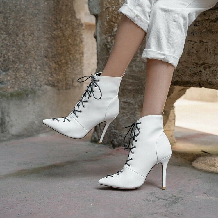 Womens Pointed Toe Ankle Shoes Fashion Riding Boots Lace Up High Heels Stilettos
