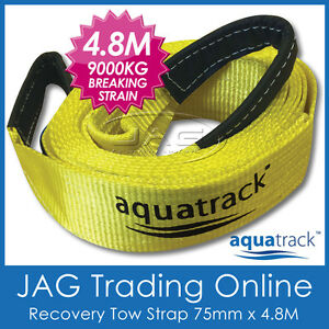 AQUATRACK 4.8M 9T RECOVERY TOW STRAP 9000kg 4x4 4WD not Snatch - Trunk Protector
