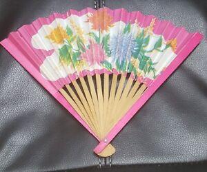 vintage paper wood folding hand fan