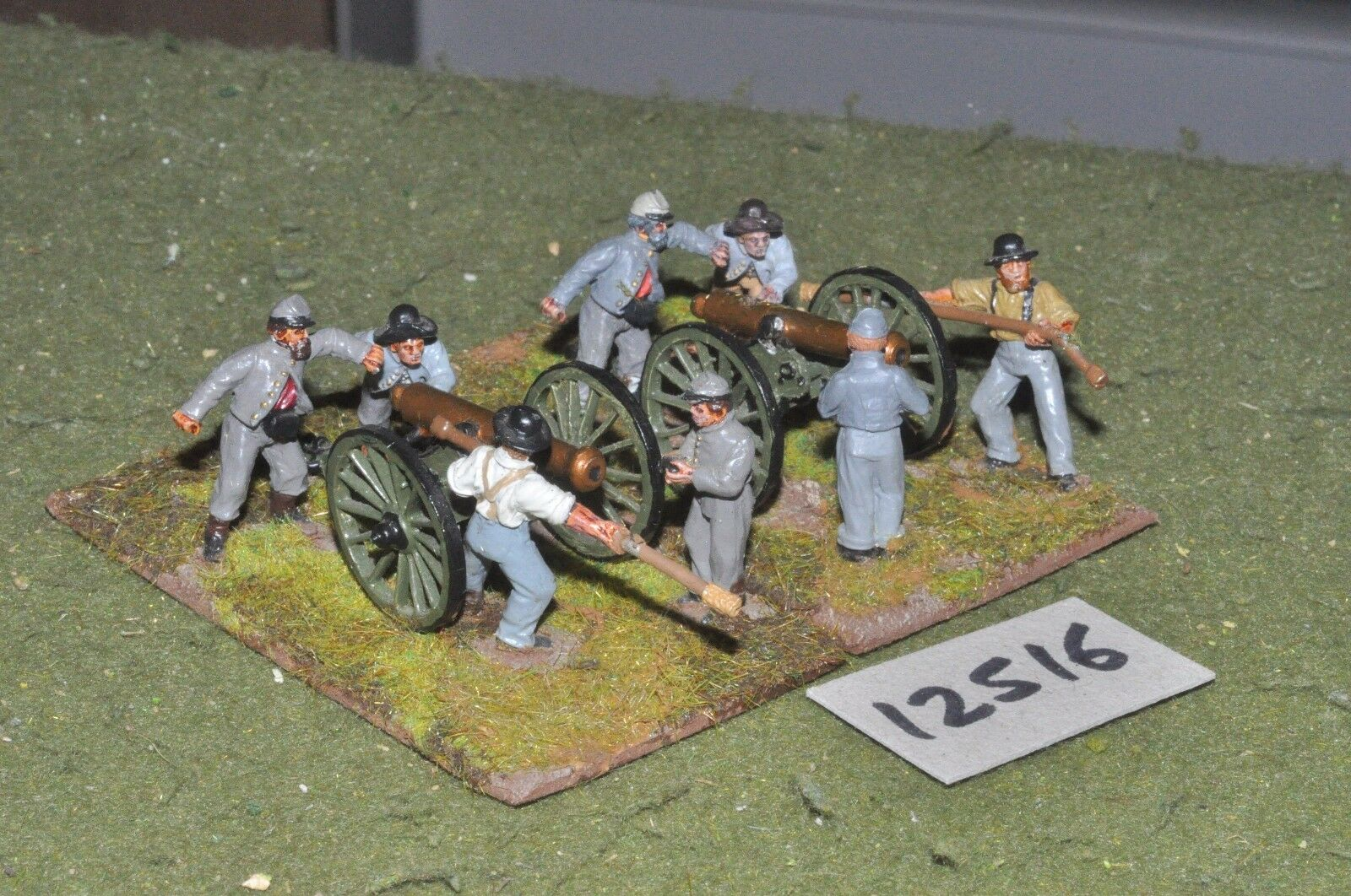 25mm ACW   confederate - american civil war 2 guns & crews - art (12516)