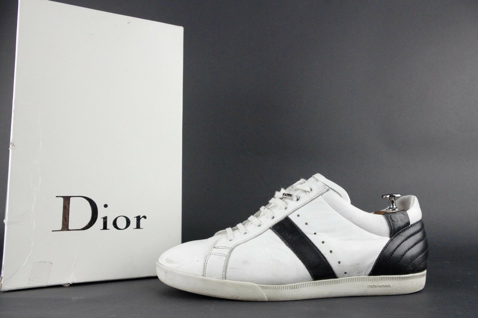 DIOR HOMME Homme Leather  chaussures  B12 AW05 Hedi Slimane 43 44 11 Blanc Noir GAT