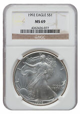 1992 MS69 1oz American Silver Eagle Brown Label NGC