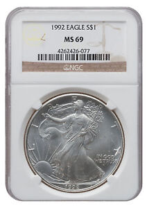 1992-MS69-1oz-American-Silver-Eagle-Brown-Label-NGC