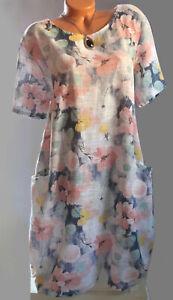 ITALY Sommer Kleid,Tunika,Kleid,Blumen Print,Tasche,Leinen Optik,Gr.42,44,46,Neu