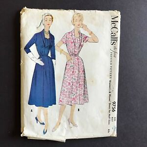 McCall-039-s-Misses-Dress-1954-Sewing-Pattern-9756-Size-16-5-Bust-37