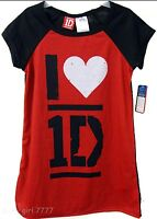 Sz 6 Girl's One Direction Pajama Gown Red Black, Niall, Harry Louis 1d