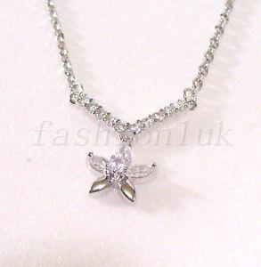 Charm-para-Mujer-Collar-Nuevo-Banado-en-Oro-Blanco-45-5cm-Transparente-Flor