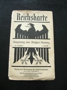 alte-Reichskarte-Umgebung-von-Bautzen-Kamenz-in-5-Farben-von-1936