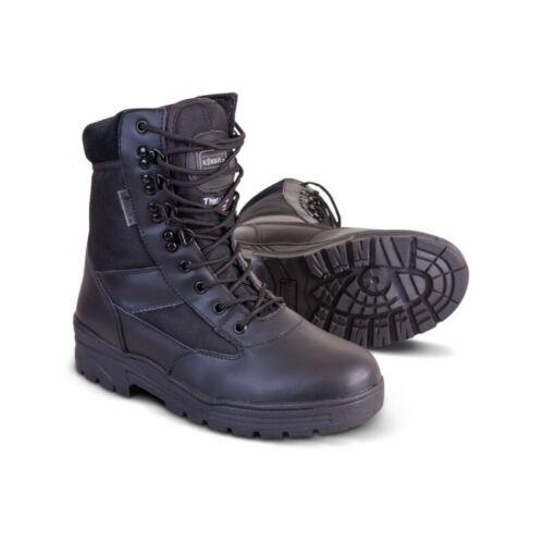 Armée Style Noir Cuir /& Nylon Patrouille Combat Boot sécurité SIA cadet 8
