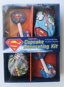 Superman-Party-Cupcake-Decorating-Kit-Inc-Baking-Cups-amp-Toppers-Pack-of-24