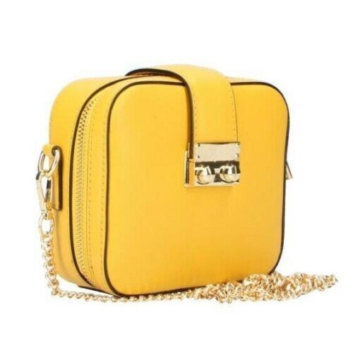 Handtasche kleine Tasche echtes ital Leder Damen Tasche Gelb Umhängetasche
