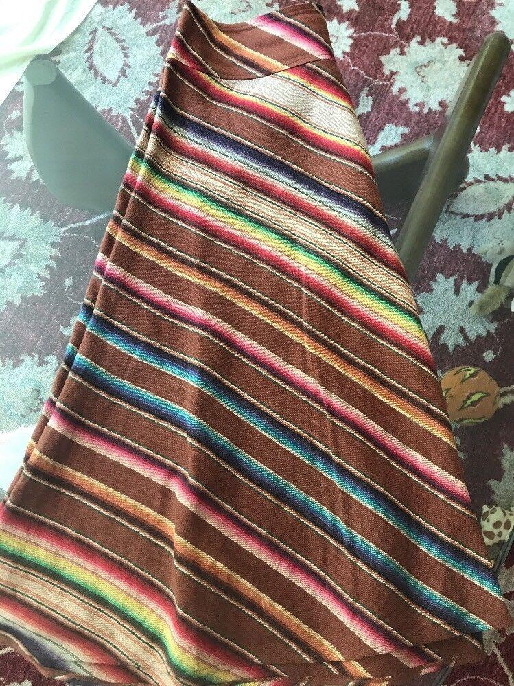 NWOT Ralph Lauren Linen Rainbow Blanket Stripe Full Skirt - Size 12