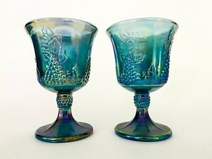 Pair-Vintage-Iridescent-Blue-Indiana-Carnival-Glass-Goblet-Cup-Harvest-Grape