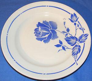 assiette plate fa ence moulin des loups hamage rigobert fleur bleue ebay. Black Bedroom Furniture Sets. Home Design Ideas