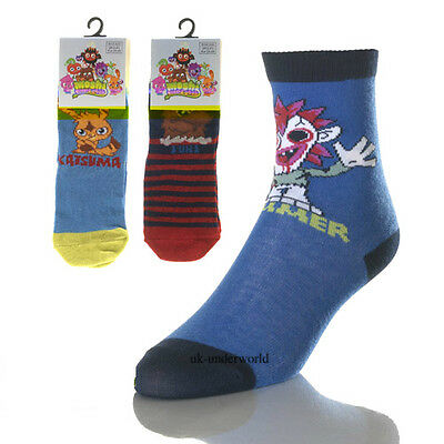 3 Pairs Boys Moshi Monster Character Cotton Socks Childrens Kids Novelty Cartoon