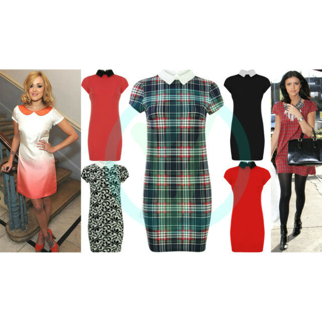 Womens Tartan Check Tunic Dress Celeb Peter Pan Collar Bodycon Mini Retro 6 16