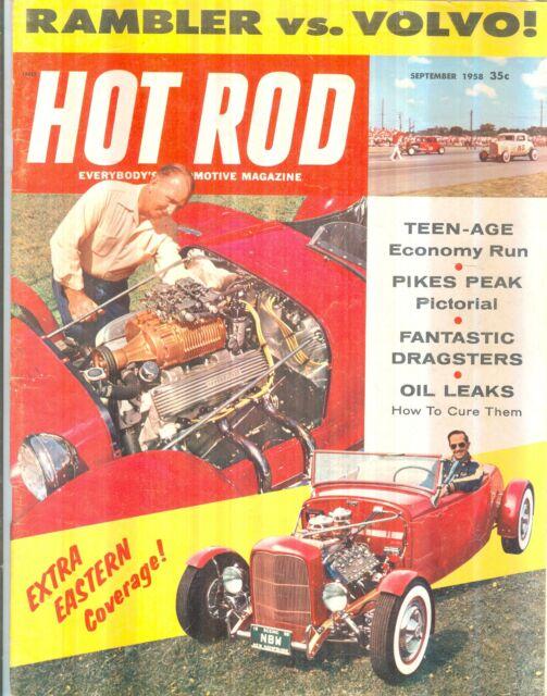 September 1958 Hot Rod Magazine Rambler Vs Volvo Fantastic Dragsters