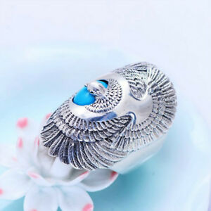 Real-925-Sterling-Silver-Ring-eagle-wings-Turquoise-Men-039-s-Size-8-9-10-11