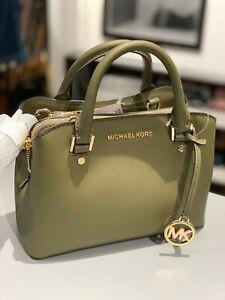 Details about Womens Michael Kors Leather Small Satchel Crossbody Bag Handbag Purse Green Gold
