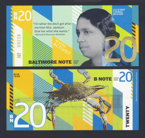 USA 2016 Local Currency SET 4 Pcs BALTIMORE NOTE 1 10 /& 20 UNC 5
