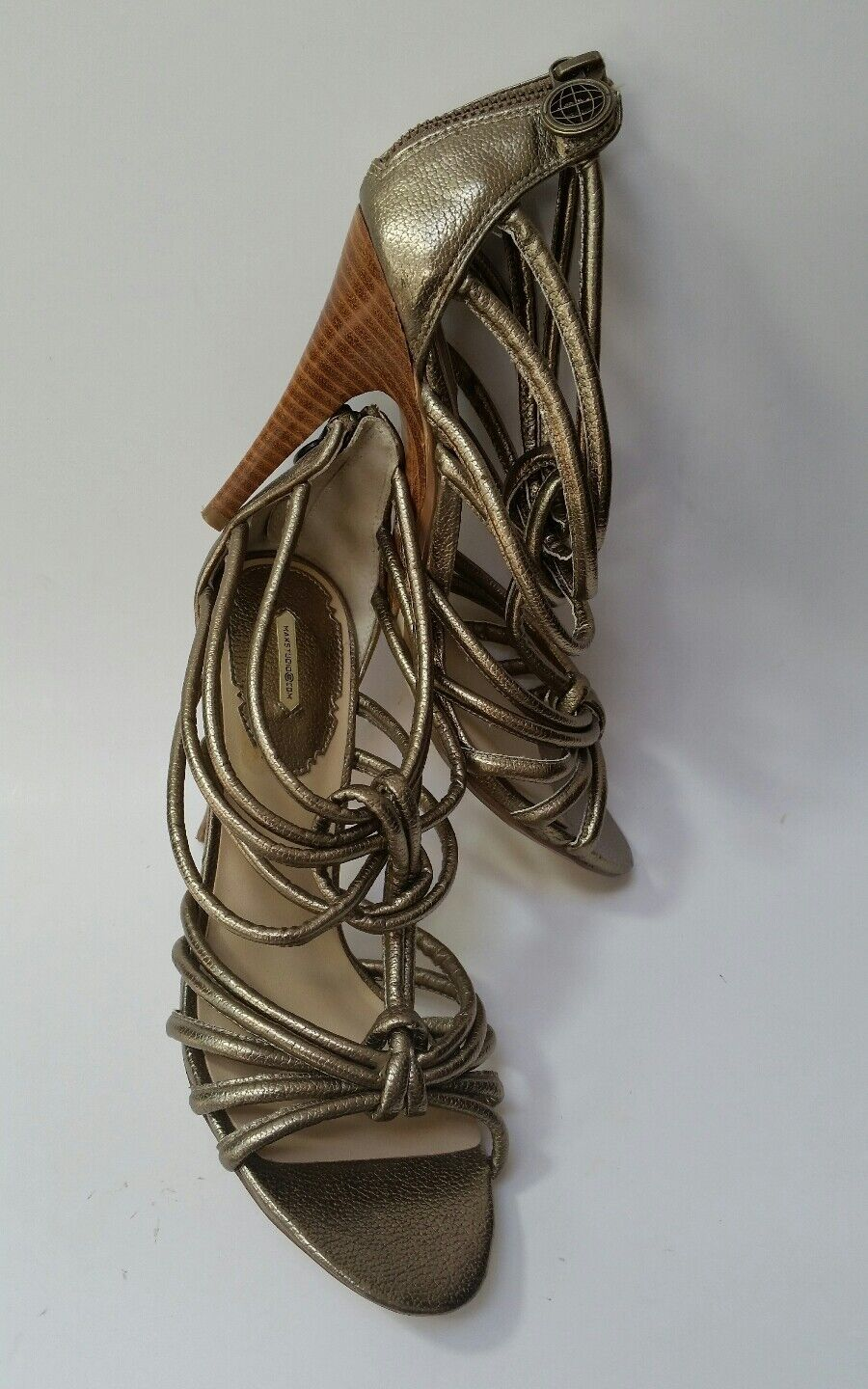 Max Studio shoes Heels Sandals Strappy Zipper Evenly gold Metallic Womens Size 7