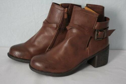 """NEW Womens Brown Ankle Boots Size 9 Zip Up Buckle Ladies Fashion Shoes 2.5/"""" Heel"""