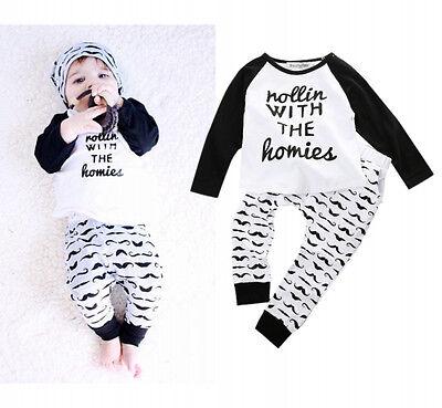 2PCS Newborn Baby Boys Cute Outfits T-shirt Top + Pants Kids Clothing Sets 0~4Y