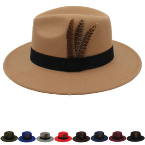 fec9bb550f218 Men Women Wool Wide Brim Panama Hat Sombrero Cap Sunhat Fedora ...