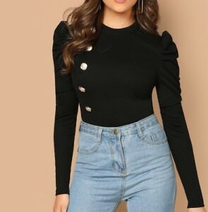 Round-Neck-Puff-Sleeve-Long-Sleeve-Tee-T-Shirt-Top-Casual-Work