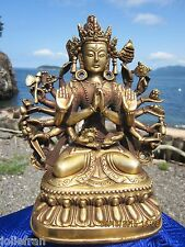 LARGE & HEAVY INCREDIBLE BRASS 1000 ARM AVALOKITESHVARA TIBETAN BUDDHIST STATUE