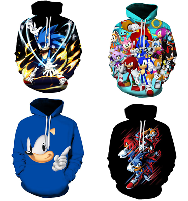 Game Sonic The Hedgehog 3d Printing Hoodie Pullover Sweater Autumn Hooded Coat Ebay