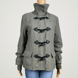 Delia-039-s-Heavy-Thinsulate-Zip-Up-Toggle-Duffle-Coat-LARGE-Gray-Wool-Insulated