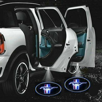 2 Mustang Logo Wireless Car Door Welcome Laser Projector Shadow LED Light Emblem
