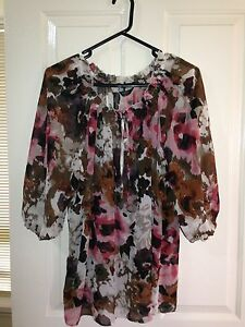 Sara-floral-Tunic-Size-3X-Plus-Size-with-3-4-Sleeves-BNWT-Multi