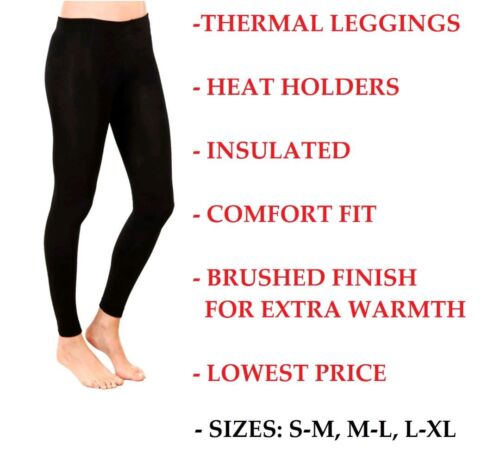 WOMENS LADIES WARM WINTER HEAT RETAINER FOOTLESS STRETCH BLACK THERMAL LEGGINGS
