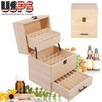 Essential Oil Wooden Box Multi-tray Organizer - 3 Tiers Storage Case