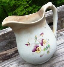 Stoneware China Pitcher with Crackle Finish, 7 Cups, Sebring Brothers, Repaired