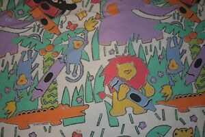 Vintage-Crayola-Jungle-Twin-Fitted-Sheet-Zoo-Animal-Cotton-Blend-Kids-Crayon