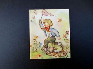 #J410- Vintage Unused Xmas Greeting Card Boy Chasing Butterflies with Net