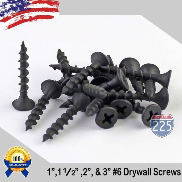 Carton #6 x 3//4 Coarse Drywall Screws//Phillips//Bugle Head//Steel//Black Phos 10,000 Pc