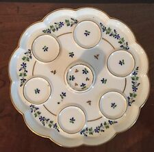 Antique 18th 19th c. Paris Porcelain Pot de Creme Platter Stand Sprig Cornflower