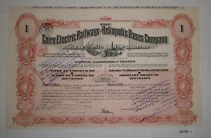 250 Franc Aktie Cairo Electric Railways & Heliopolis Oases Company 1906 (127797)