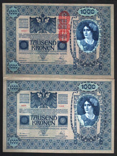 AUSTRIA 1000 1,000 KRONEN P78 1922 EURO UNC WOMAN FLOWER HAIR MONEY BILL NOTE