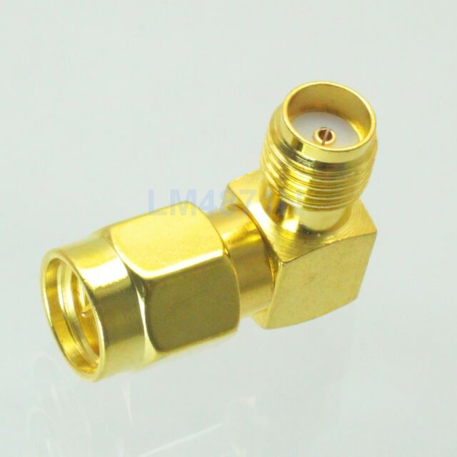 1pce Adapter SMA male plug to female jack 90°connector right angle gold plating